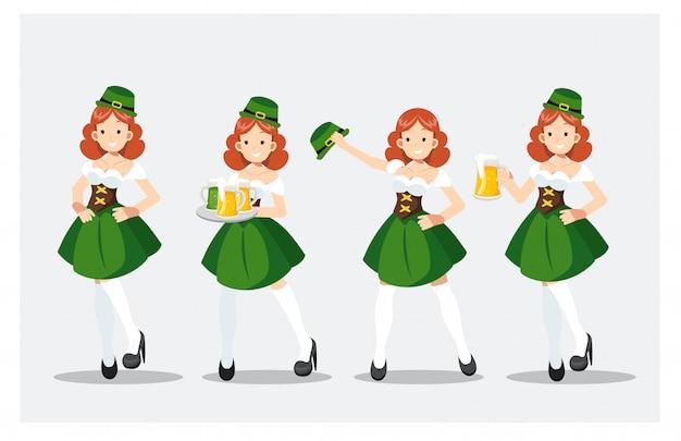 Set van st patrick's day girl in groen kostuum Premium Vector