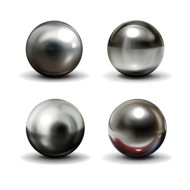 Set van stalen of zilveren ballen met schaduwen van onderen Gratis Vector