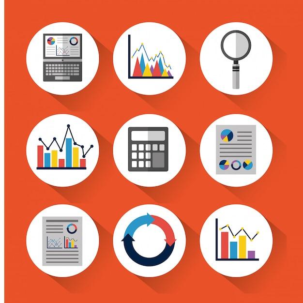 Set van statistische gegevenshulpmiddelen financiëndiagram en grafische grafiekzaken Gratis Vector