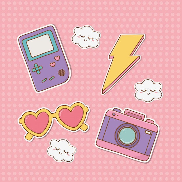 Set van stickers kawaii Premium Vector