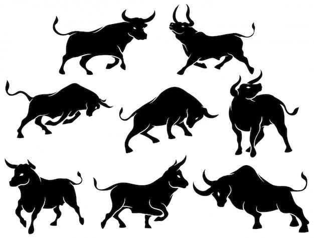 Set van stier silhouetten. verzameling van spaanse vechtstieren in verschillende poses. Premium Vector
