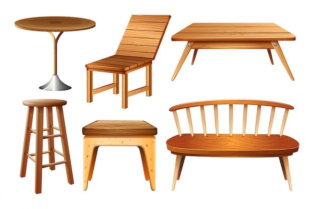 Set van stoelen en tafels Gratis Vector