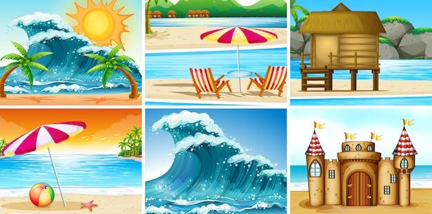 Set van strandlandschap Premium Vector