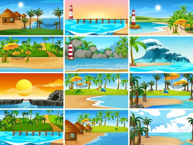 Set van strandtaferelen Gratis Vector
