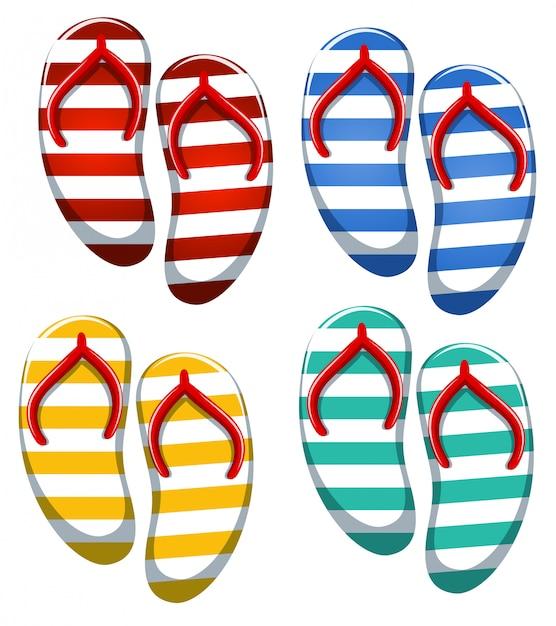 Set van stripe sandaal Gratis Vector