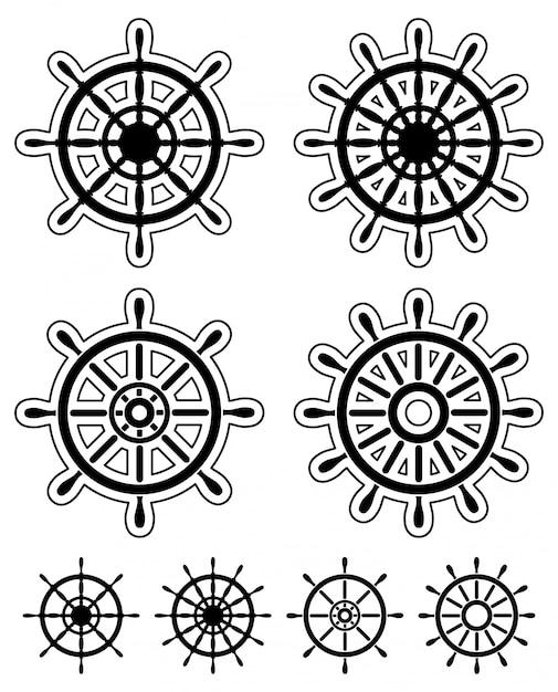 Set van stuurwielen van schepen Premium Vector