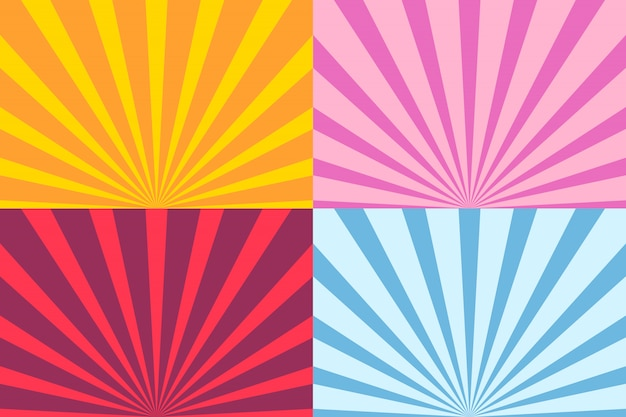 Set van sunburst ray Premium Vector