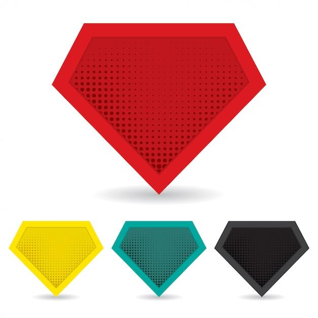 Set van superheld-logo Premium Vector