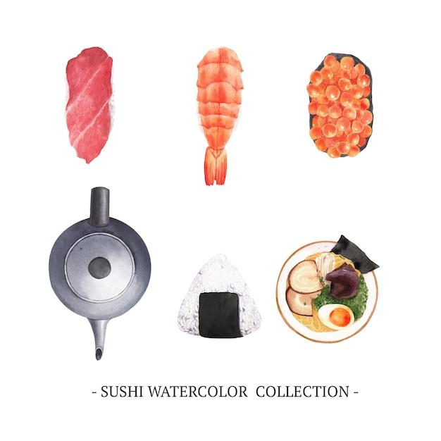 Set van sushi collectie geïsoleerde aquarel Gratis Vector