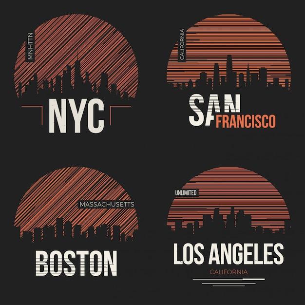 Set van t-shirt ontwerpen met ons steden silhouetten Premium Vector