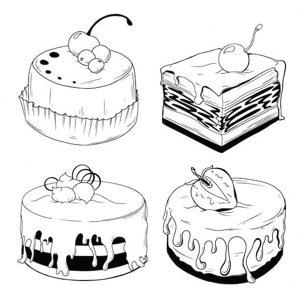 Set van taarten. snoepjes geïsoleerd op een witte achtergrond. Premium Vector