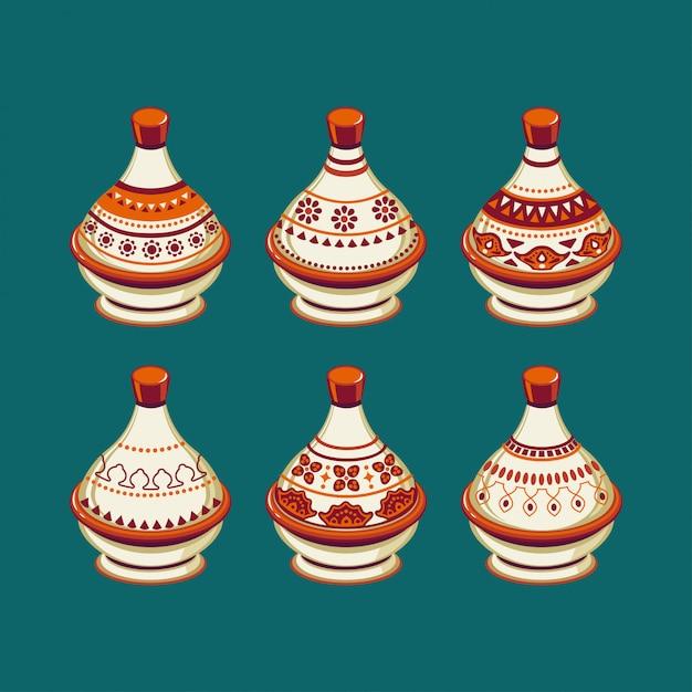 Set van tajine marokkaanse india keramische kookgerei collectie Premium Vector
