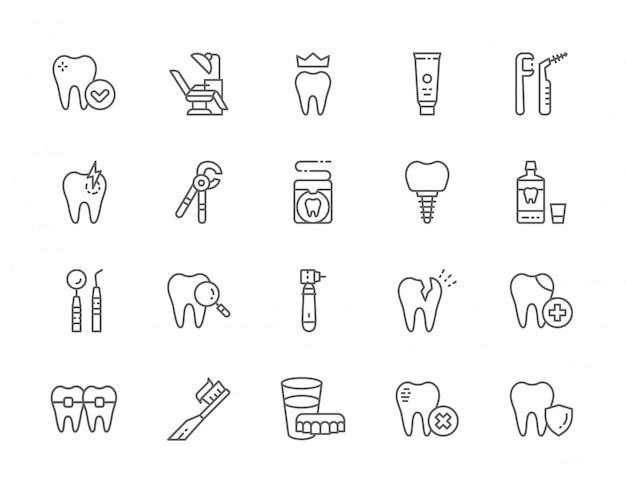 Set van tandheelkunde lijn iconen. Premium Vector