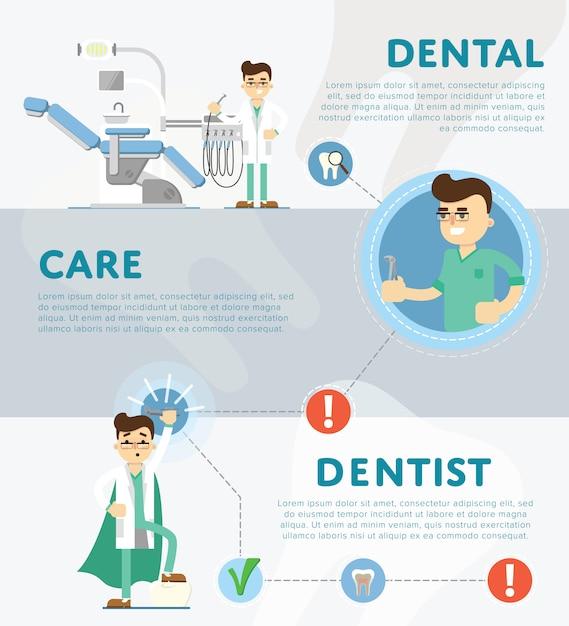 Set van tandheelkundige infographics Premium Vector