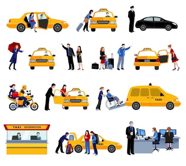 Set van taxi service pictogrammen Gratis Vector