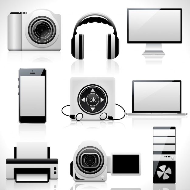 Set van tech iconen. Premium Vector