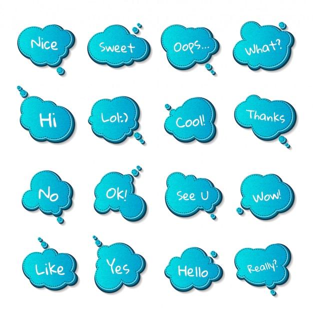 Set van tekstballonnen en citaten, strips blauwe gedachte bubbels. Premium Vector