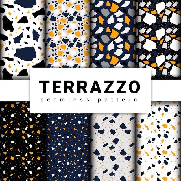 Set van terrazzo naadloze patronen. terrazzo vloerpatroon Premium Vector