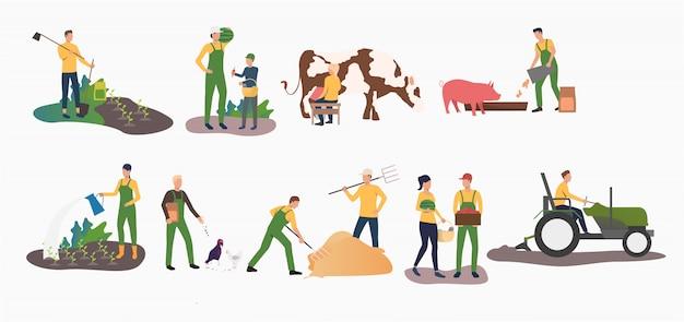 Set van tijd landbouwactiviteiten Gratis Vector