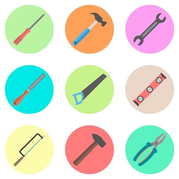 Set van tools in de gekleurde cirkels Premium Vector