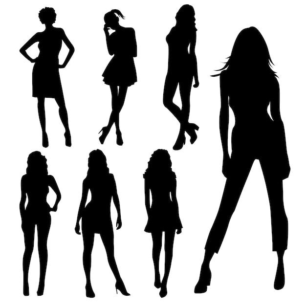 Set van topmodel vrouwelijke silhouetten Premium Vector