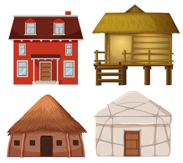 Set van traditioneel huis Premium Vector