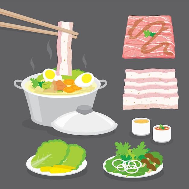 Set van traditioneel japans eten, hete pot, shabu-shabu, sukiyaki met groenten, spek, varkensvlees, vleesschuif en saus. Premium Vector