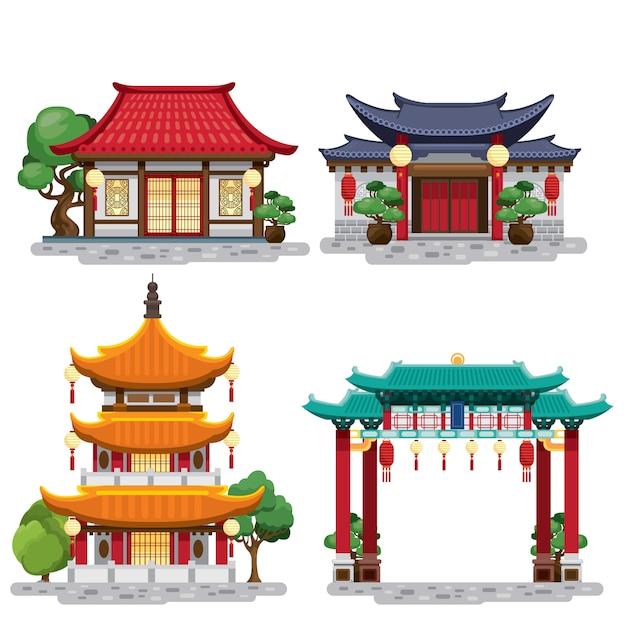 Set van traditionele chinese gebouwen Premium Vector