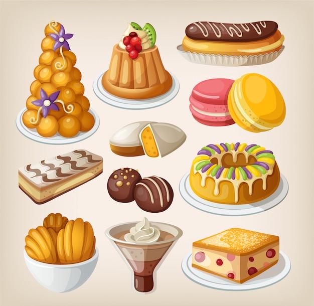 Set van traditionele franse desserts. geïsoleerde illustraties Premium Vector