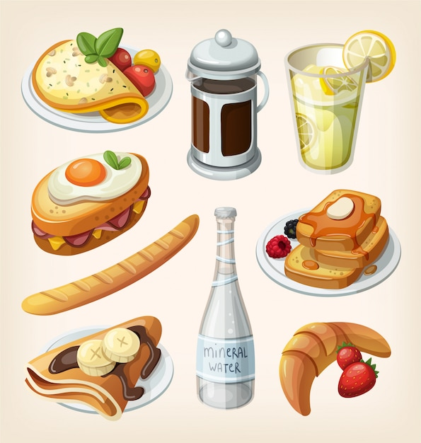 Set van traditionele franse ontbijt elementen en gerechten. illustraties Premium Vector