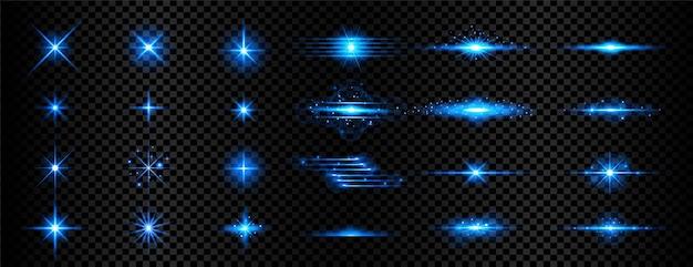 Set van transparant blauw licht streak en lens flares Gratis Vector