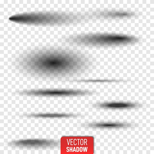 Set van transparante ovale schaduw met zachte randen geïsoleerd. realistische geïsoleerde schaduw. grijze ronde en ovale schaduwen vector illustratie. Premium Vector