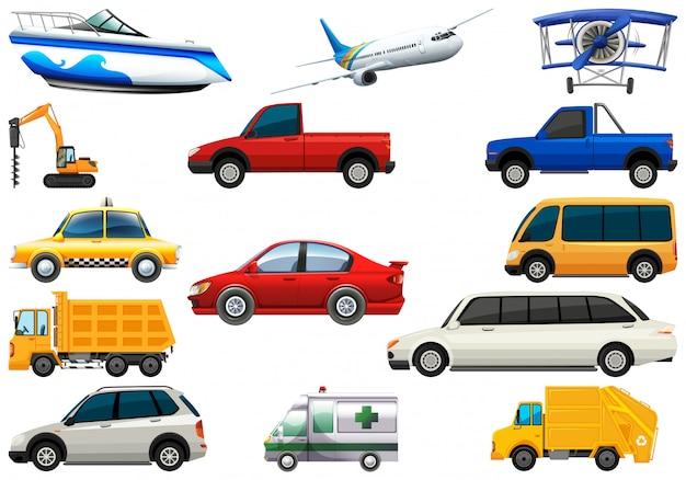 Set van transportvoertuig Gratis Vector