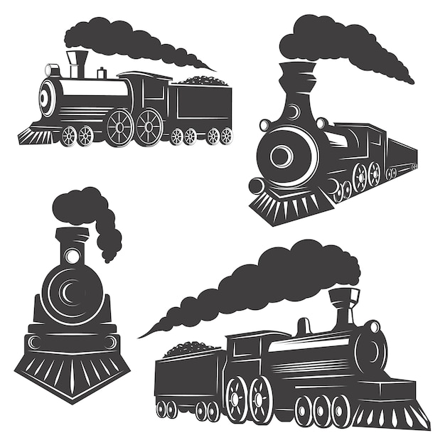 Set van treinen iconen op witte achtergrond. elementen voor logo, label, embleem, teken, merkmarkering. Premium Vector