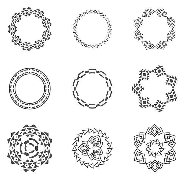 Set van trendy geometrische vormen hipster frames-collectie. Premium Vector