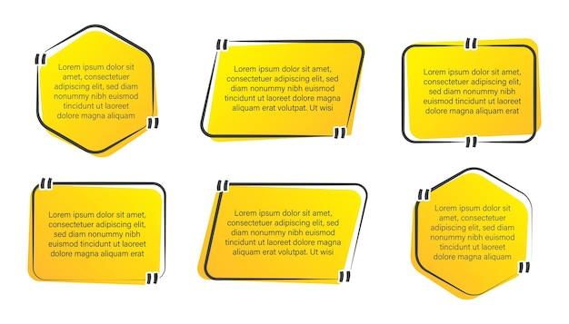 Set van trendy offerte box frame, citaten banner en label collectie Premium Vector