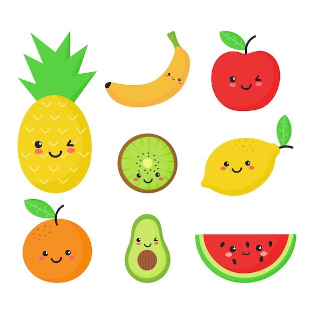 Set van tropisch fruit in kawaiistijl Premium Vector