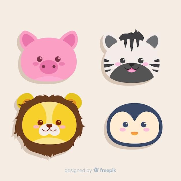 Set van tropische dieren: varken, zebra, leeuw, pinguïn. vlakke stijl ontwerp Gratis Vector