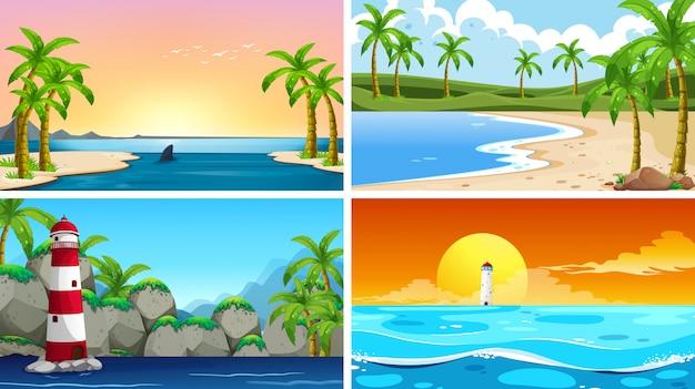 Set van tropische oceaan natuur scène of achtergronden met stranden Gratis Vector