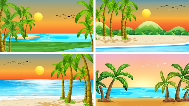 Set van tropische oceaan natuur scènes met stranden Gratis Vector