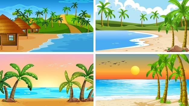 Set van tropische oceaan natuur scènes of achtergrond met stranden Gratis Vector