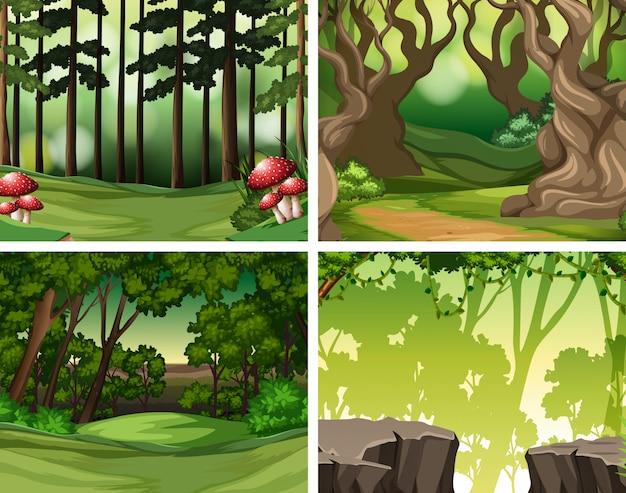 Set van tropische regenwoud achtergrond Premium Vector