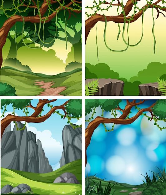 Set van tropische regenwoud achtergrond Gratis Vector
