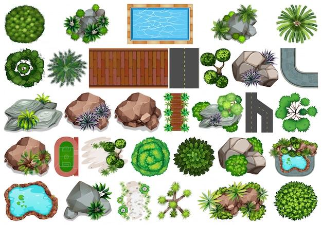 Set van tuindecoratie Gratis Vector