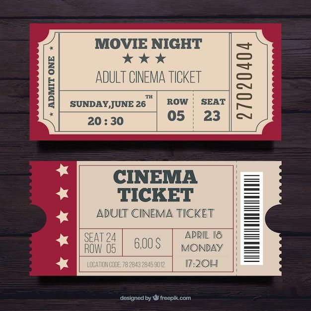 Set van twee bioscoop pas in vintage stijl Gratis Vector