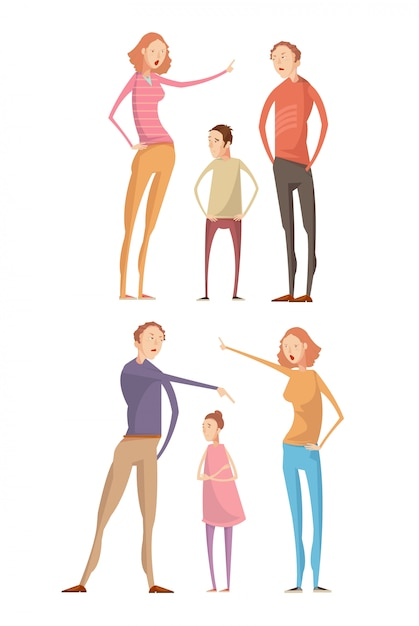 Set van twee geïsoleerde composities met volwassen ouders Gratis Vector
