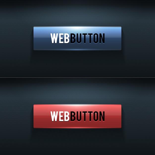 Set van twee glanzende knoppen op donkere achtergrond Premium Vector