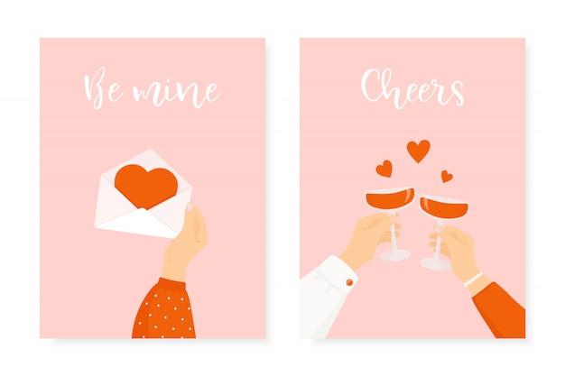 Set van twee happy st. valentijnsdag ontwerp Premium Vector