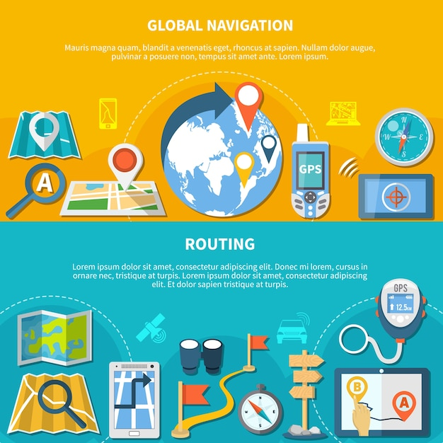 Set van twee horizontale navigatiebanners met geïsoleerde pictogrammen van kaartgadgets en apps voor koersgrafieken Gratis Vector