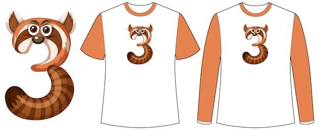 Set van twee soorten shirt met wasbeer in nummer drie vormscherm op t-shirts Gratis Vector